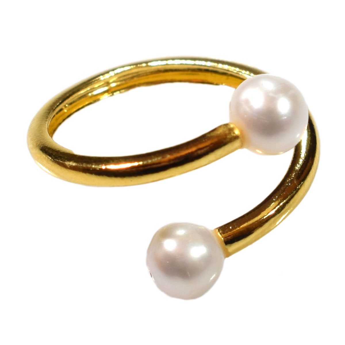 Pearl and Zircon Ring Handmade 925K Sterling Silver Ring 18K Gold Plated Over Silver