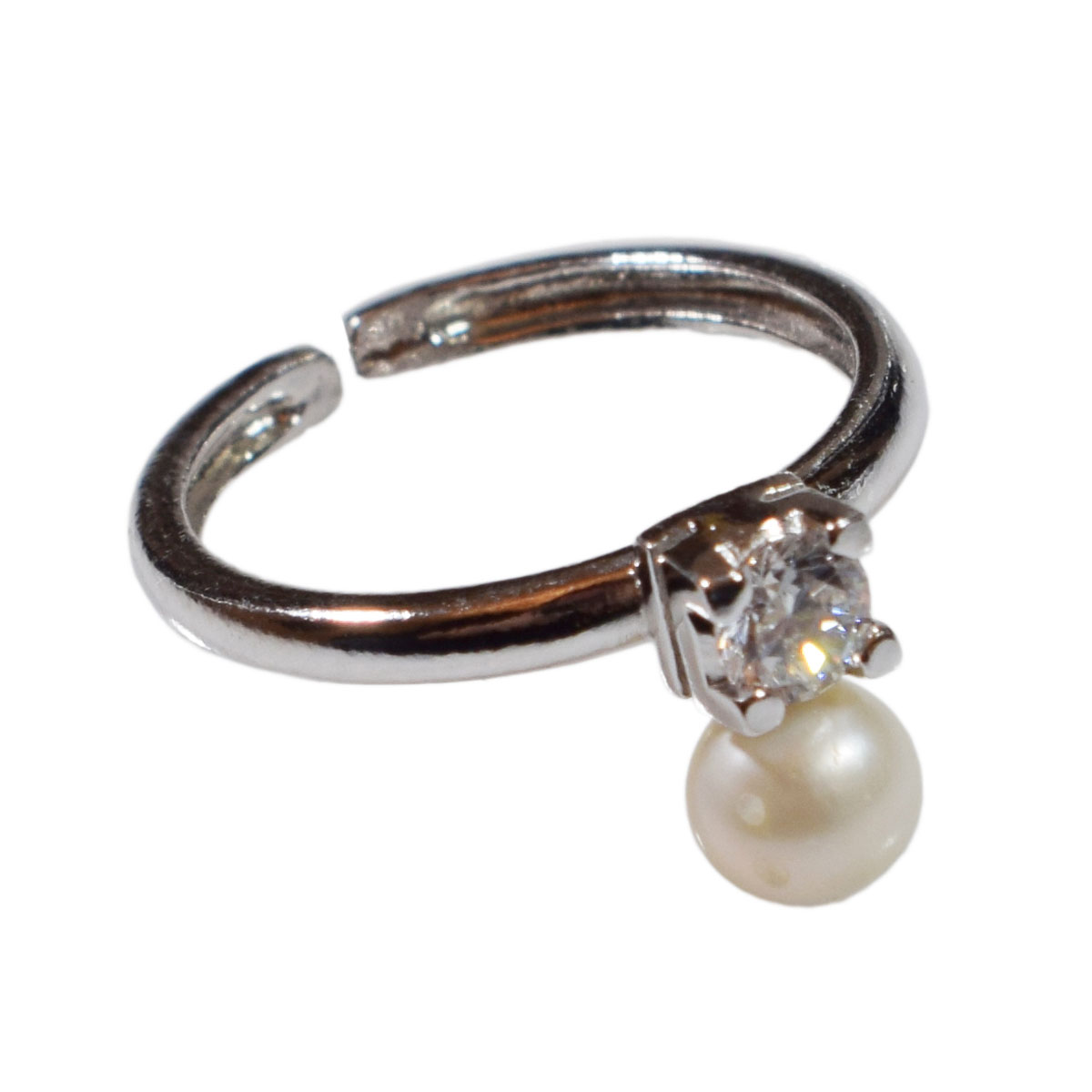 5745626b7850e Handmade sterling silver ring Eight-RG-00707 with rhodium plating and  semi-precious stones (pearls and cubic zirconia)