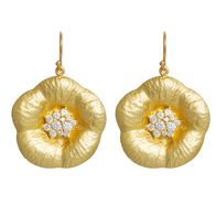 Handmade sterling silver earrings Eight-ER-00191 flowers with gold plating and semi-precious stones (cubic zirconia)