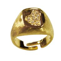 Handmade sterling silver ring Eight-RG-00714 with gold plating and semi-precious stones (cubic zirconia)